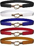 Hestya Donne Skinny Vita Cintura Straccale Elastico Vita Retro Metallo Elastico Fibbia Cinturino per Abito (5, Nero Marrone Rossa Bianco Blu)
