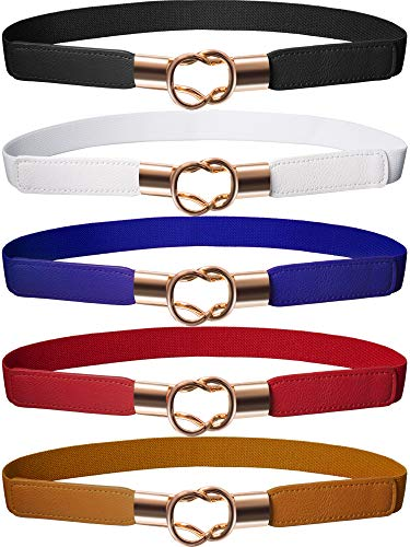 Hestya Frauen Dünne Taille Cinch Gürtel Stretchy Taille Retro Metall Elastische Haken gürtel Für Kleid (5, Schwarz Braun Rot Weiß Blau)