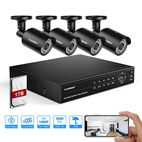 FLOUREON DVR Kit de videovigilancia 6 en 1 sistema de vigilancia (8 CH videograbador CCTV + 4 x 1080P IP cámara exterior) PIR detección humana, Motion Alert, acceso remoto con 1 TB HDD, negro