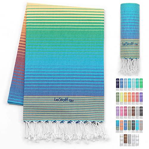 LeStoff Telo Mare Fouta Telo da Bagno XXL 100% Organico Cotone di Alta qualità Asciugamano Turco Hammam Super Assorbenza Asciugatura Rapida Ecologico prelavati 100 x 180 cm Rainbow