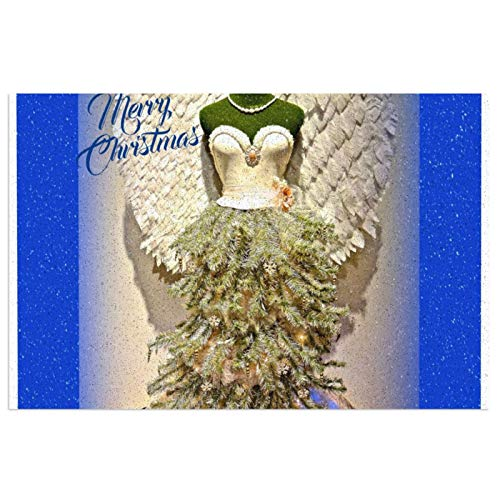 Angel Mannequin Dress Form Christmas Tree Welcome Mat for Front Door Indoor Outdoor Rubber Rug Entryway Non-Slip Waterproof Durable Entrance Rug 15.7x23.6in