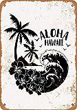 Shimaier 壁の装飾 ブリキ 看板メタルサイン Aloha Hawaii ウォールアート バー カフェ 30×40cm ヴィンテージ風 メタルプレート