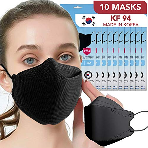 [10 PACK] Black Disposable KF94 Face Mask 4-Layer Filters Breathable Comfortable Protection Nose Mouth Covering Dust Mask for Men Women Kids
