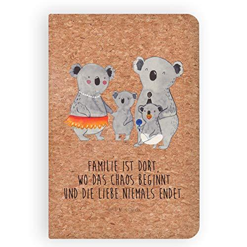 Mr. & Mrs. Panda Adressbuch, Notizen, DIN A5 Kork Notizbuch Koala Familie mit Spruch - Farbe Transparent