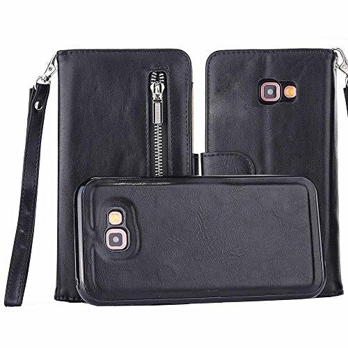 Galaxy J520 J5 2017 (US-Model) Hülle, COOSTOREEU Premium PU Leder Zipper Wallet Flip Seite mit Handschlaufe 2 in 1 Abnehmbarer Koffer mit 5 Kartenfächern für Samsung Galaxy J5 2017,Schwarz