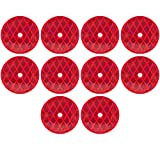 [ALL STAR TRUCK PARTS] Class A 3-3/16' Round Red Reflector with Center Mounting Hole - 2 Pack for Trailers, Trucks, Automobiles, Mail Boxes, Boats, SUV's, RV's, Industrial Applications (Red, 10)