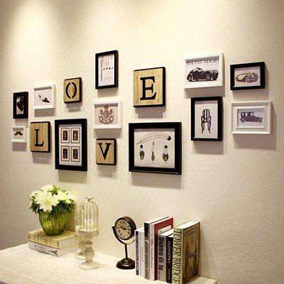 Massivholz Foto wand Mediterrane schreiben Bilderrahmen Wohnwand Wohnzimmer Wände Ideen LiebeLiebe,Schwarze und Weiße Mischung