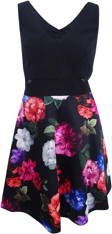Xscape Womens Plus Floral Print Sleeveless Party Dress