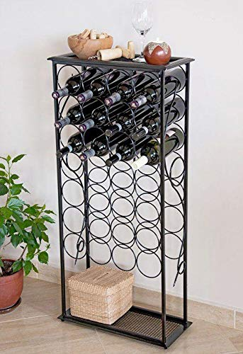 DanDiBo Weinregal Metall Schwarz Flaschenregal stehend 100 cm Flaschenständer Rico für 28 Flaschen