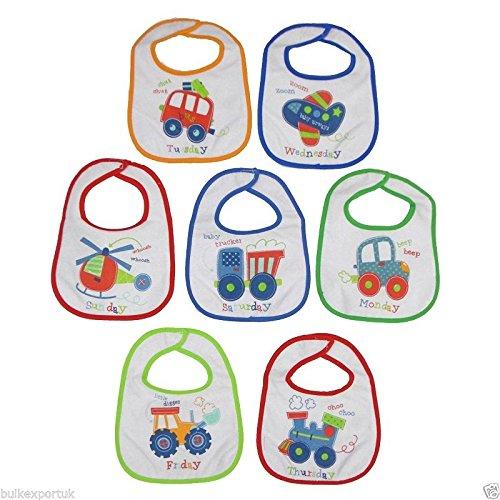 Nouveau Lot de 7 bavoirs alimentation avec un véhicule coloré Thème – Bébé Garçon – 0–3 mois