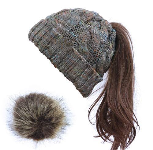 FINGER TEN Hüte Damen Winter Strickmützen Warme Weiche Abnehmbare Pom Schachtelhalm Hut Baseballmütze für Pferdeschwanz (Farbe-Grau)