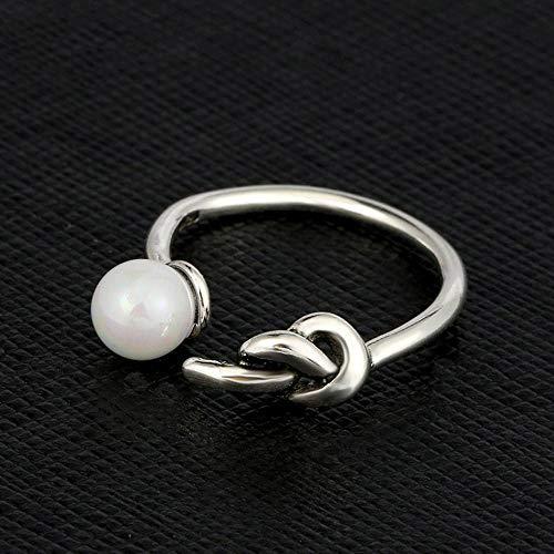 Yarmy ring verstelbare open ring verguld en 925 zilver retro parel knoopring sieraden accessoires voor dames