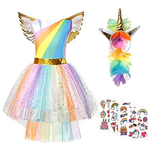 Tacobear Disfraz Unicornio Niña Princesa Unicornio Vestido Tutu Arcoiris con Diadema Unicornio Dorado Alas Pegatina Unicornio para Cosplay Actuación Cumpleaños Partido (M(110-120cm))