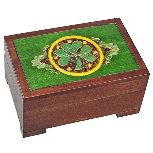 Celtic Shamrock Wood Polish Jewelry Keepsake Box Irish