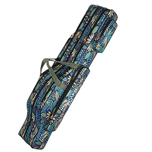 LINGSFIRE Borsa da Pesca 3 Strati con Tracolla 120cm Portatile Custodia per Canna da Pesca Pieghevole Resistente allo Strappo Durevole Rod Reel Bag