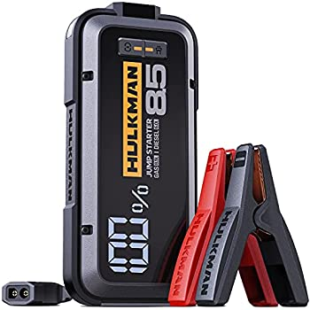HULKMAN Alpha85 Jump Starter 2000 Amp 20000mAh Car Starter for up to 8.5L Gas and 6L Diesel Engines with LED Display 12V Lithium Portable Car Battery Booster Pack  Space Gray