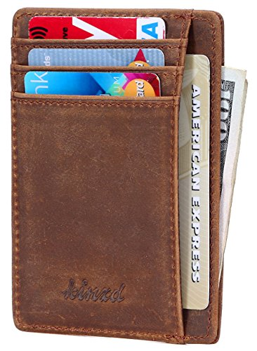 Crazy Horse Genuine Leather Minimalist Slim Wallet For Mens Front Pocket Wallet Secure Thin Small Rfid Blocking Credit Card Holder Mini Minial Khaki Wallet
