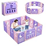Dripex Box per Bambini, Recinto Bambini Box Neonato Protezione 14 Pannelli Barriera di Sicurezza Pieghevole con Porta e Scheda...