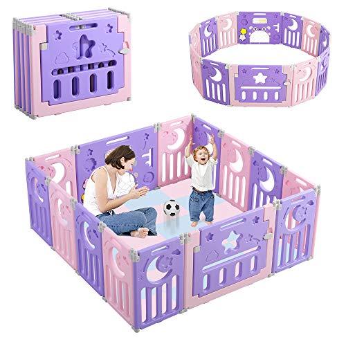 Dripex Laufgitter Laufstall Baby Absperrgitter 14-Paneele Schutzgitter Krabbelgitter für Kinder aus Kunststoff mit Tür und Spielzeugboard (14-Paneele Lila-Rosa)