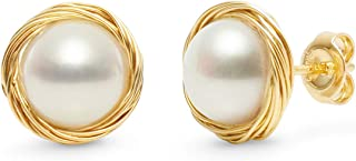 Pearl Stud Earrings for Women 14K Gold Filled 9-9.5mm White Real Freshwater Cultured Pearl Earrings COMOTO Jewelry