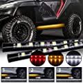 Fuguang [2PC - 60inch] LED Running Board Light Amber Side Marker Sequential Turn Kit with White Courtesy Lights for Extended Crew Cab Trucks (Sequential - 60INCH-IP68)