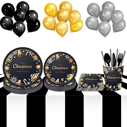 New Year Eve Party Supplies - Gold Black Disposable Happy New Year Paper Dinner Plates, Dessert Plates, Napkins, Cups, Straws, Forks,Knives,Spoons - New Year Theme Dinnerware Set for Christmas Holiday Decorations,Birthday Party ,Baby Shower Birthday 9' Dinner Plates