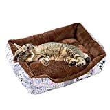 HAODEE Coussin Chat Lit Chat Panier Chien Parc Chiot Panier pour Chat Coussin Chien Peluche Chat Chat Accessoire Panier Chien XXL Lit Chien pour Chiot Et Chaton Medium,British Style Coffee