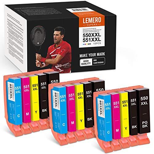 15 cartuchos de tinta LEMERO SUPERX 550XXL 551 XXL para Canon PGI-550 CLI-551 compatible con Canon PIXMA IP7250 IP8750 MX925 MG5650 IX6850 MX725 MG5550 MG6350 MG6450 920 (60 cm) B/3C/3M/3Y).