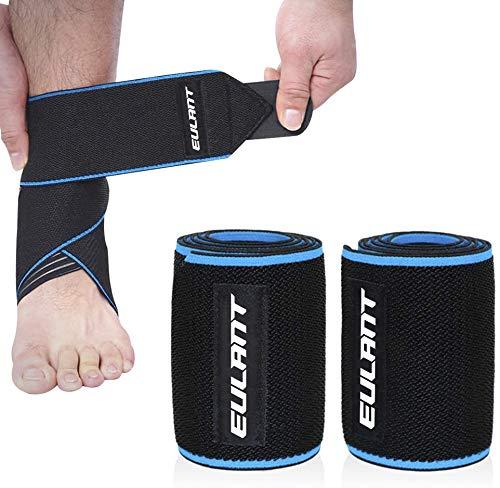 EULANT Ankle Bandage 2pcs, Knöchelschoner 85cm, Hochelastisch Achillessehne Bandage für Volleyball Fußball Laufen Radfahren, Blau