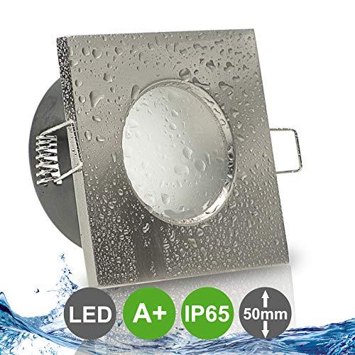 AQUA BASE IP65 1er Set ultra flach LED 5W = 50W 230V Decken Einbaustrahler eckig Edelstahl Optik gebürstet Warmweiss 3000k nur 50 mm Einbautiefe Bad Feuchtraum Einbauleuchte quadratisch