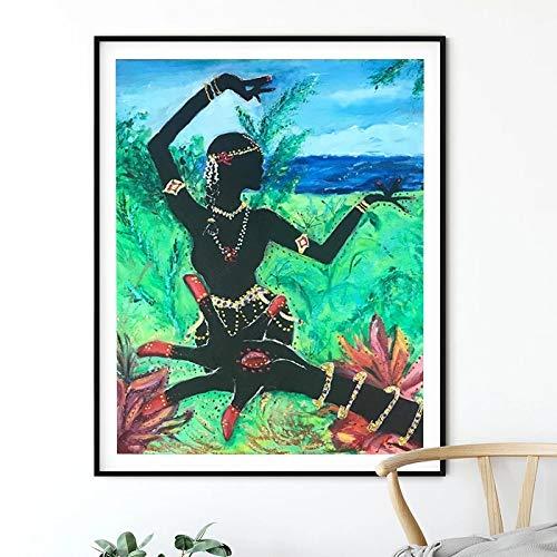 qianyuhe Impresión en Lienzo Mujer India Danza Póster de Lienzo Mano de Loto y Bailarina Desi Arte Pintura Bollywood Cuadro de Pared Cuadro de decoración Vintage 60x90cm (23.6x35.4inch)