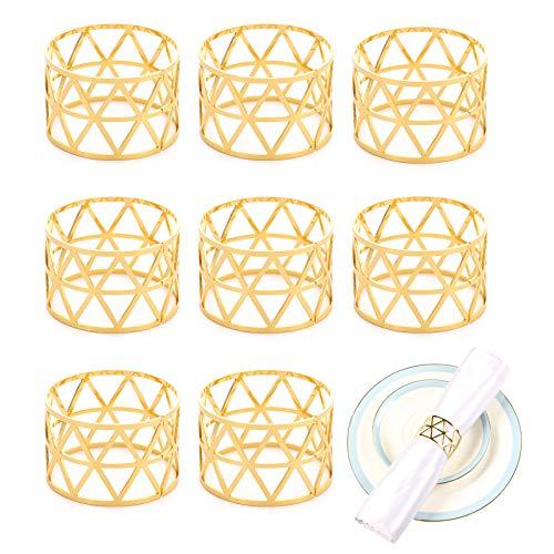 LdawyDE Portatovaglioli Anello, Portatovaglioli con Diamanti Scavati, 8 Pezzi Portatovaglioli in Metallo Portatovaglioli per Tavolo da Pranzo per Fest