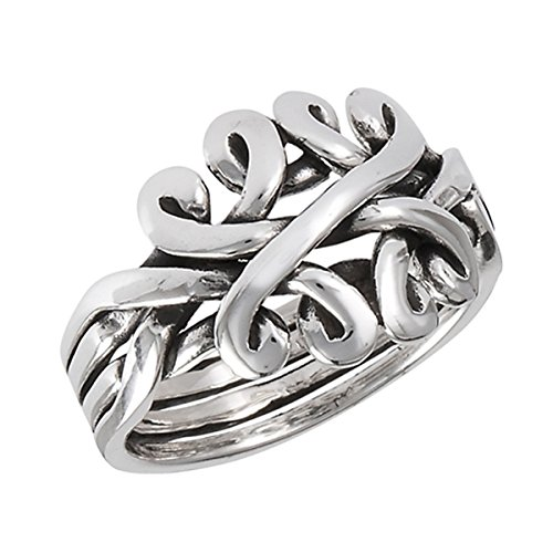 Sterling Silver Women's Oxidized Celtic Knot Puzzle Band Ring (Sizes 6-10) (Ring Size 6)
