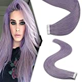 YoungSee Extension Cheveux Adhesive Pas Cher 10pcs/25g 14Pouces #Violet Clair Seamless Skin Weft Extension Adhesive Violet Tape in Hair Extensions Remy Hair