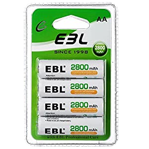 EBL 2800mAh Pilas Recargables AA Ni-MH 1200 Ciclo Alta Capacidad (4 Unidades)