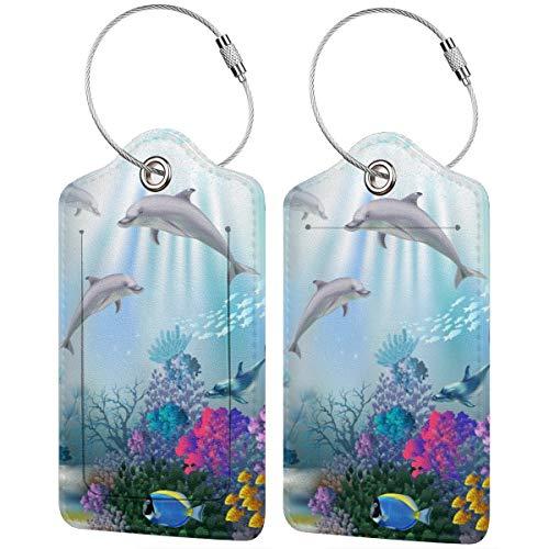 Dolphins Bay - Juego de etiquetas de equipaje de cuero personalizado para maleta de lujo