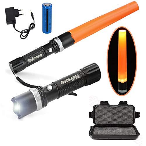 DEPALMERA✮ linterna led recargable tactica policial alta potencia con zoom y cono naranja de emergencias