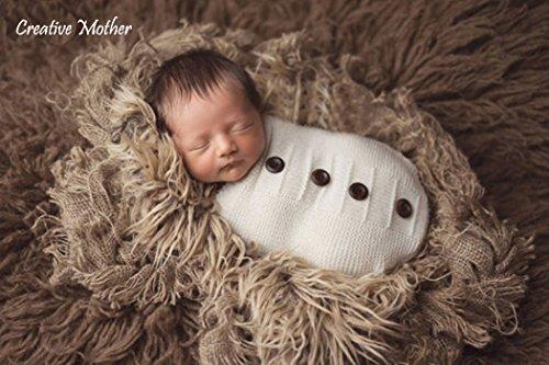 Madre creativo Cocoon sacco a pelo in cotone a maglia Crochet fotografia puntelli per neonato ragazzo ragazza (pulsante bianco)