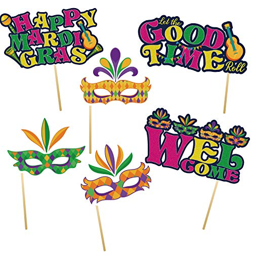 Mardi Gras - Masquerade Party Centerpiece Sticks - Set of 24 Mardi Gras Photo Booth Props Kit for New Orleands Party Decorations Masquerade Photo Props Set Accessories Selfie Photography