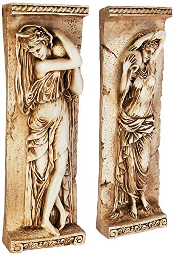 Design Toscano Water Maidens Wall Sculptures, 22 Inch, Dordogne and Seine Set of Two, Polyresin, Cream Stone