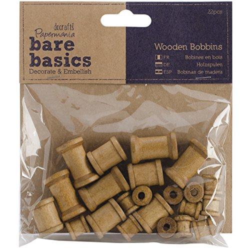 Papermania PM174603 Bare Basics Holzspulen, 22 Stück