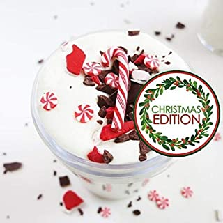 Peppermint Bark Slime -Thick slime w/ Clay + Candy Cane Charm (4oz) (scented) - Christmas Slime