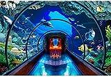 RTYUIHN Papel tapiz 3d mundo submarino acuario papel tapiz estéreo 3D decoración de la sala de estar pared de la sala de estar decoración de arte de pared moderno 3d