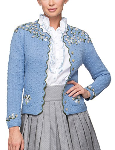 Stockerpoint Damen Jacke Hilda Trachtenstrickjacke, Blau (Hellblau Hellblau), 36