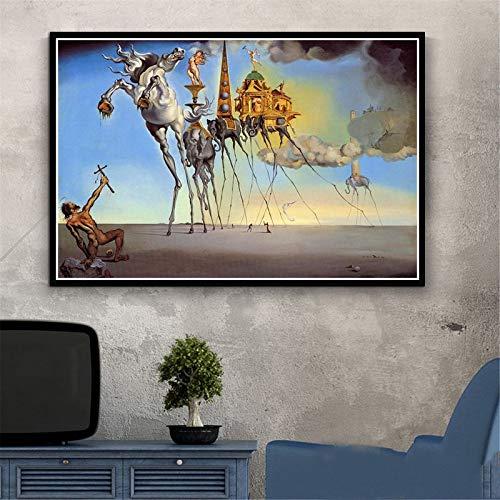 Puzzle 1000 Piezas Pintura psicodélica Retro Salvador Dali Surrealismo Arte de Pared Abstracto Puzzle 1000 Piezas Juego de Habilidad para Toda la Familia, Colorido Juego de ubicaci50x75cm(20x30inch)