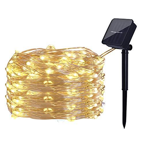 Luces de hadas solares Lámpara de alambre de cobre Luces de Navidad IP68 Impermeable para jardín Fiesta de bodas de Navidad Luz intermitente 10M 100LED, Luz cálida