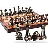 XBSLJ Ajedrez Juego de ajedrez Juego de Caja de Regalo de Alta Gama de ajedrez Piezas de ajedrez de Bronce de Metal de Estilo Retro Juego Extra Grande dedicado Tablero de ajedrez Plegable backgam