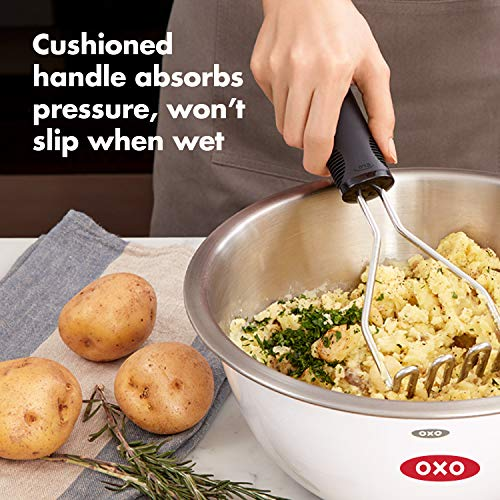 OXO Stainless Steel Good Grips Potato Masher with Cushioned Handle, Single