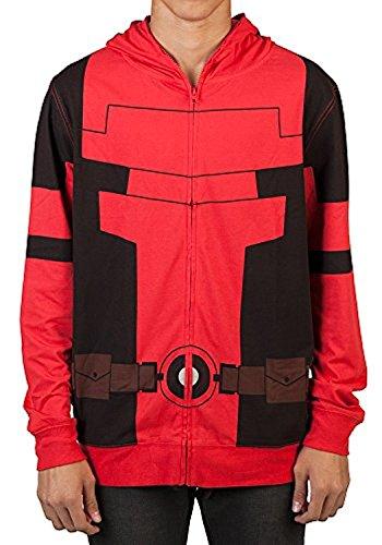 Marvel Deadpool Mens Cosplay Costume Hoodie (Large) Red