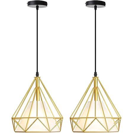 iDEGU Lot de 2 Suspensions Luminaires Vintage Lustre Plafonnier Cage en Métal Rétro E27 Lampes de Plafond Forme Diamant avec Abat-jour en Tissu, 25cm, Or